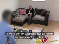 Скриншот для Рыжую бабу в чулках трахнули от первого лица на порно кастинге